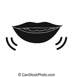 Speaking mouth icon in black style isolated on white...