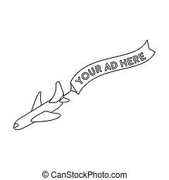 Aerial advertising icon in outline style isolated on white background. Advertising symbol stock bitmap, rastr illustration.