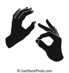 Sign language icon in black style isolated on white...