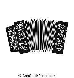 Classical bayan, accordion or harmonic icon in black style...