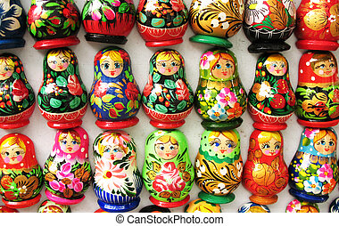 Souvenir russian dolls on magnets