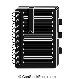 Personal dictionary icon in black style isolated on white...