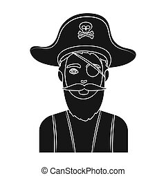 Pirate with eye patch icon in black style isolated on white...