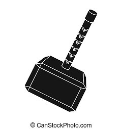 Viking battle hammer icon in black style isolated on white...