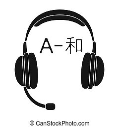 Headphones with translator icon in black style isolated on...