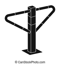 Parking construction barricade icon in black style isolated...