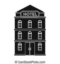 Hotel building icon in black style isolated on white...