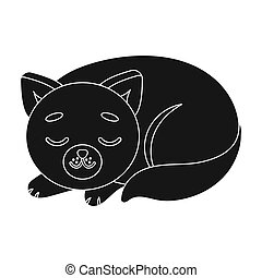 Sleeping cat icon in black style isolated on white...