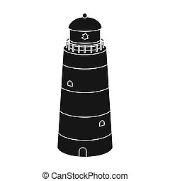 Lighthouse icon in black style isolated on white background....