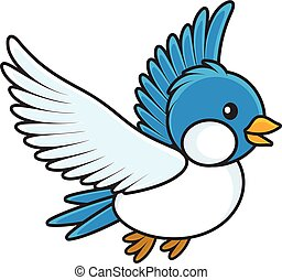 Blue bird - Vector illustration of a small birdie flying in...