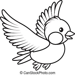bird flying - Black and white vector illustration of a small...