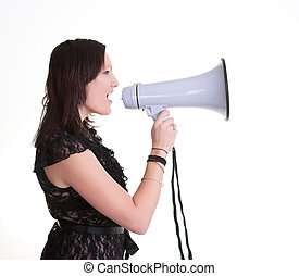 young woman wiht megaphone or bullhorn - young woman with a...