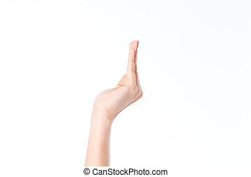 side view of the woman's hand with fingers raised up...