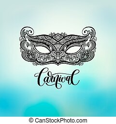 black lineart venetian carnival mask silhouette on blured...