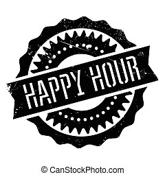 Happy hour stamp. Grunge design with dust scratches. Effects...