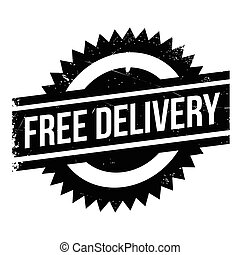 Free delivery stamp. Grunge design with dust scratches....