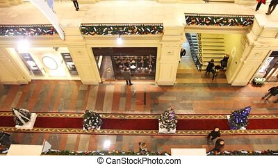 top view of pass of GUM with pavilions of shops, New Year's...
