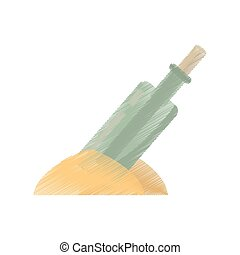 drawing bottle with message letter sand vector illustration...