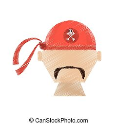 drawing face pirate red bandanna corsair bones vector...