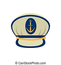 marine cap captain board with anchor vector illustration eps...