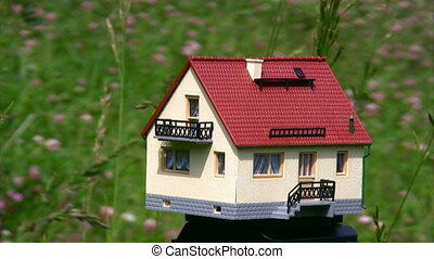 male hand taking toy house standing in field