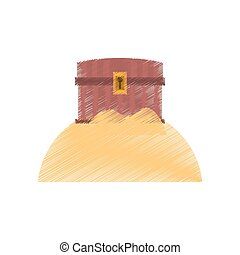 drawing chest pirate wooden closed treasure sand sea