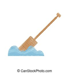 drawing rowing wooden boat pirate tool