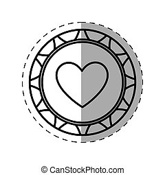 casino poker chip heart thin line vector illustration eps 10