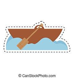 rowing wooden boat ocean cut line