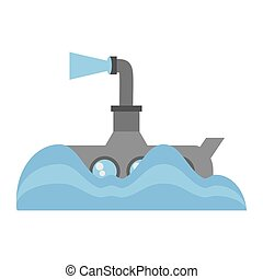 Submarino, periscopio, submarino, Océano