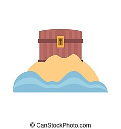 chest pirate wooden closed treasure sand sea