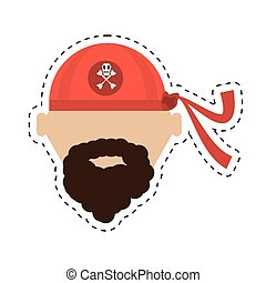 pirate red bandana corsair bones cut line vector...