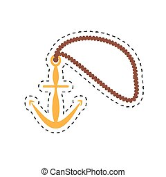 anchor rope maritime nautical cut line vector illustration...