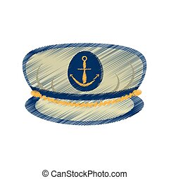 drawing marine cap captain board with anchor vector...