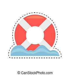 life buoy rescue boat cut line vector illustration eps 10