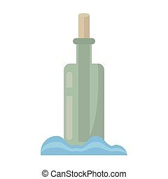 bottle with message letter water vector illustration eps 10