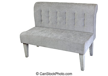 Double couch upholstered in gray fabric, isolated on white....