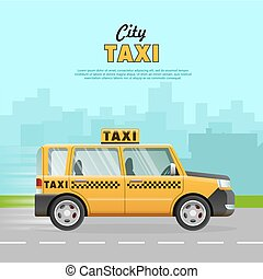 Yellow Taxi with Checker on the Road in City.