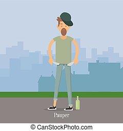 Pauper Men with Empty Pockets in City Park. - Pauper men...