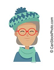 Smiling Old Woman in Blue-green Hat and Scarf