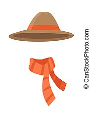 Longedged Brown Hat with Long Orange Stripe Vector - Hat....