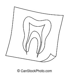 Dental x-ray icon in outline style isolated on white...