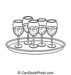Tray with champagne glasses icon in outline style isolated...