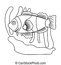 Clownfish and anemone icon in outline style isolated on...