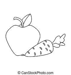 Apple with carrot icon in outline style isolated on white...