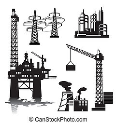 industrial buildings - set of vector silhouette images of...