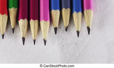 black lead pencils lie in a row,