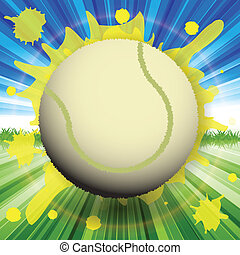 tennis - abstract illustration, tennis ball on background of...