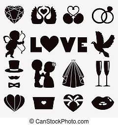 Vector illustration of happy wedding and Valentine days -...