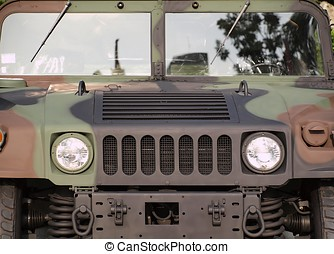 Powerful Army Off Road Vehicle - Frontal view of a heavy...